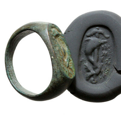 Museum Quality Roman Military Bronze Seal Ring-Dolphin On Anchor Circa 100 Ad