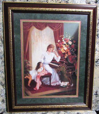 Home Interiors Mother May I Play Girl Woman Playing Piano Large Picture