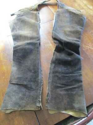 Distressed Real Vintage Leather Working Chaps Western Wear Cowboy Rancher Gear