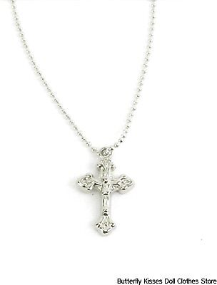 Crucifix Cross Necklace Jewelry 18 in Doll Clothes Accessory  Fits American Girl