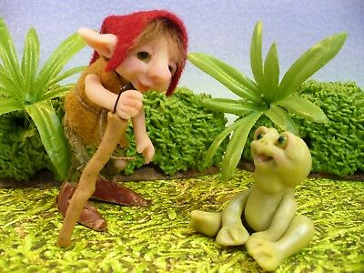 ELF MEETS FROG NEW OOAK ORIGINAL LORI of TROLLTRACKS  animal fantasy fairy troll
