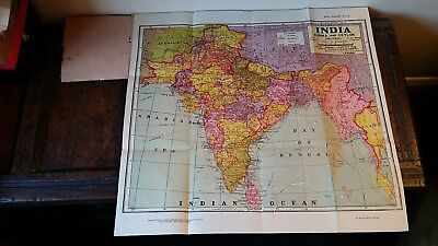 1940 Large Map India Burma & Ceylon Political - Indian Book Depot Lahore - Singh
