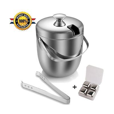Ice Bucket with Tongs and Ice Cubes Insulated Double Wall Stainless Steel - S...