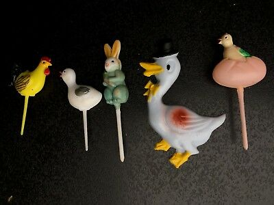 Vintage plastic Easter cake decorations picks Hong Kong Japan chick rabbit ducks