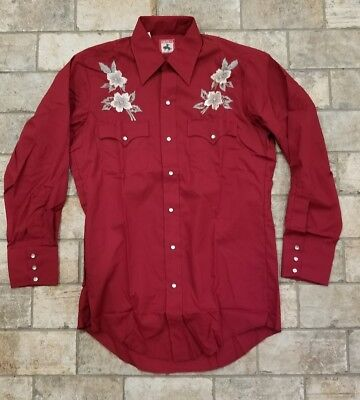 Chute #1 Vintage Cowboy Western Rockabilly Embroidered Pearl Snap Shirt, Men's