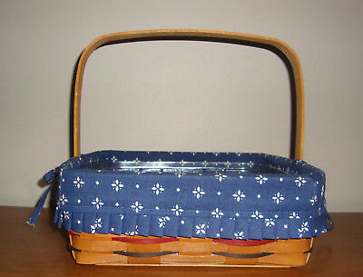 1994 Longaberger Woven Traditions Pie Basket w/ Blue Over the Edge Liner USA