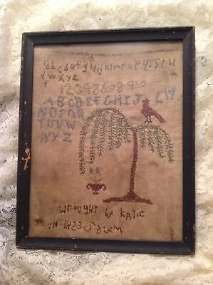 Antique Sampler Dated 1823 By Katie Of Salem Alphabet Numbers Folk Art Bird Tree