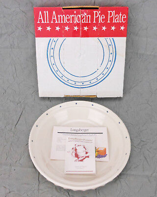 Longaberger All American Pie Plate Item# 35807 New in Open Box Made in Ohio, USA