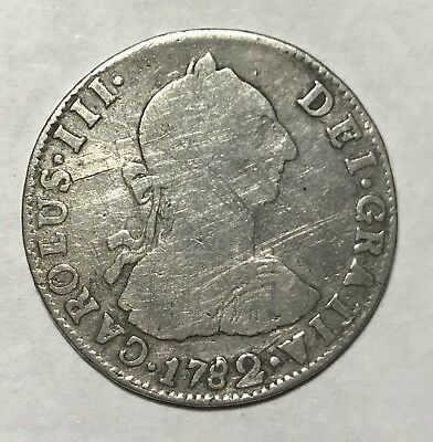 1782/8 PR 2 REALES - BOLIVIA * GREAT OLD COLONIAL SILVER PILLARS -Lot#A115