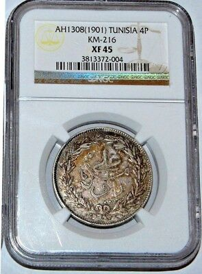 Tunisia French Protection AH1308 (1901) Silver 4 Piaster  KM-216 NGC XF-45
