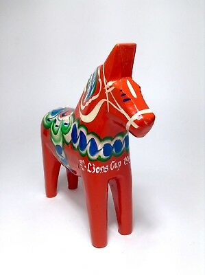 "Red Dala Horse For Lions Cup 1999 Floral Painted Wood 7"" Tall Swedish"