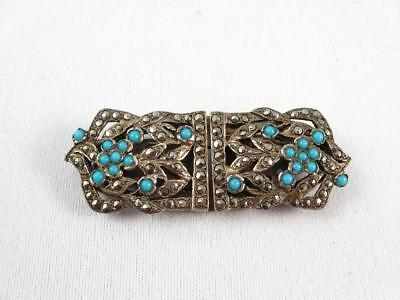 Vintage French Art Deco Dress/scarf Clip W/ Marcasite & Blue Opaline Glass Beads