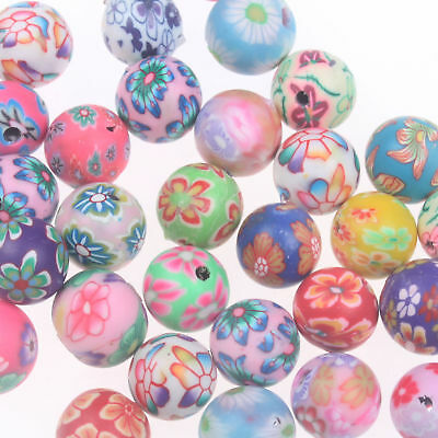 20Pcs Mixed Polymer Clay Fimo Crystal Flower Round Loose Charm Beads 12MM