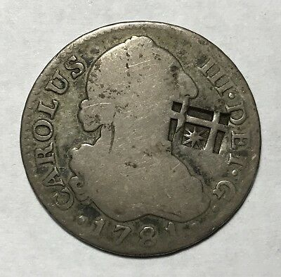 1781 PJ 2 REALES - SPAIN HOST COIN * COUNTERMARKED OLD COLONIAL SILVER -Lot#A069