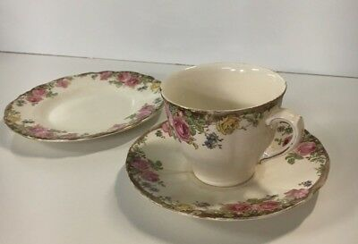 Royal Doulton: English Rose D.6071 Tea cup, Saucer & Side Plate