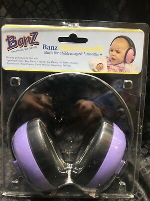 Baby Banz Hearing Protector Children's Earmuffs, Purple For Ages 3 months +