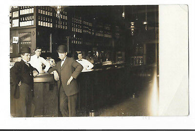 Antique RPPC, Old Fancy Saloon Photo, Parts Unknown, USA, Unposted c1910