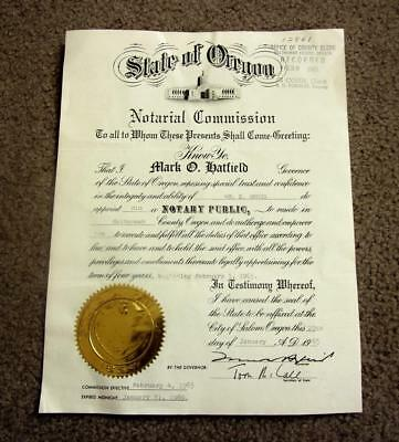 Tom Mccall & Mark Hatfield Oregon Governors Signed Vintage Notary Certificate