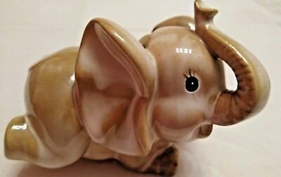 Elephant Coin Bank Ceramic Raised Trunk for Good Luck With Original Stopper