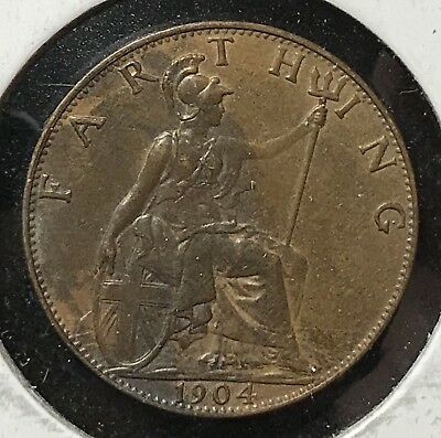 1904 FARTHING - GREAT BRITAIN * GREAT OLD BRITISH COPPER - EDWARD VII -Lot#879