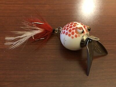 Vintage Fishing Lure Worth Flutter Fin Red And White EX