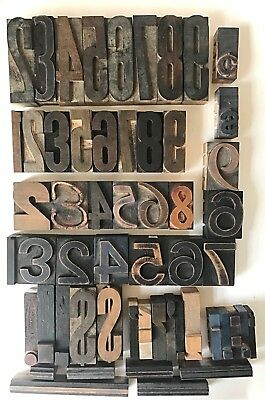 Vintage Letterpress Printing Wood Type Numbers, Punctuation, Symbols, Borders