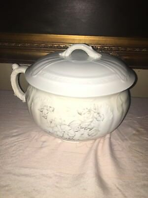 Antique H.P. Co stone china chamber pot with lid * circa 1890 *
