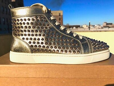 check out 77c63 56b1b MENS CHRISTIAN LOUBOUTIN Orlato Flat Gold Animal Spike Sneakers Size 42