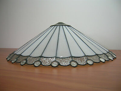 """New 21"""" White & Clear Leadlight Stained Glass Ceiling Pendant Lamp Shade"""