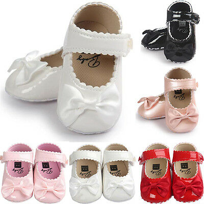 Infant Baby Girls Bow Anti Slip Leather Christening Pram Shoes Soft Sole Sneaker