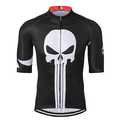 0f434b184 Weimostar Men Cycling Jersey Short Sleeve Bike Shirt Punisher Black White