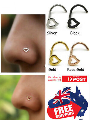 316L Heart Top Gold Black PVD 20g Nose Bone Stud Screw Ring Body Piercing 1pc