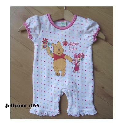 New Disney Baby Girls Summer Romper Winnie The Pooh Character Clothing