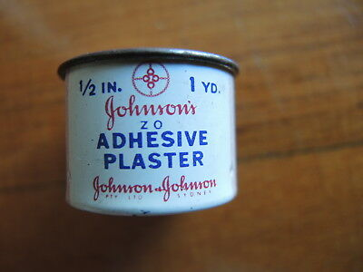 Johnson and Johnson adhesive plaster 1/2inch 1yd tin Johnson's empty Vintage