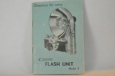 Canon rangefinder Flash Unit model X instruction manual vintage from 50's