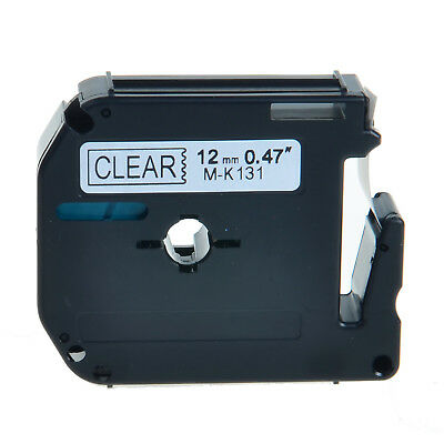 """1PK M-K131 MK-131 Black On Clear Label Tape For Brother P-Touch PT-100 12mm 1/2"""""""