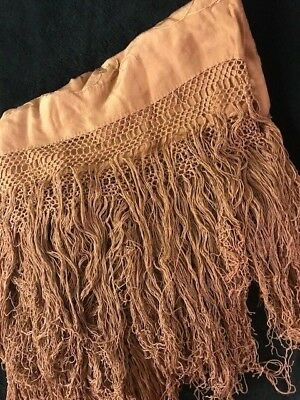 Antique Vintage 19th Century Fringed Silk Shawl Intricate Detail Taupe 32 x 64