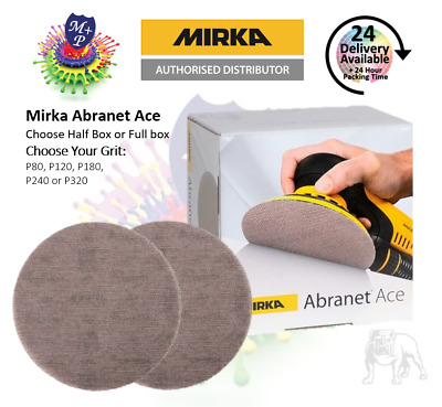Mirka Abranet ACE Sanding Discs 150mm(25 or 50 Discs)  GRITS P80,120,180,240