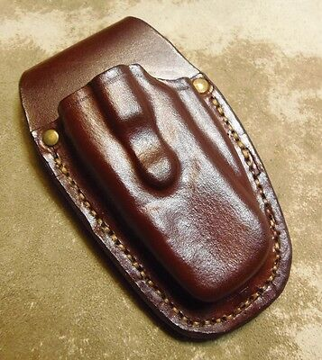Custom Leather Pouch to fit the Boker Worldwide - Dark Brown