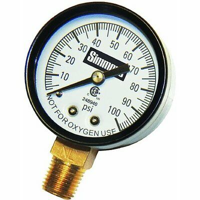 Simmons Mfg Co 1305 Pressure Gauge 1/4in Steel Case With Glass Face *
