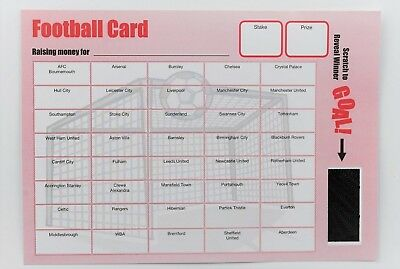 Pack of 5 Fund Raising Charity Event Football Team Scratch Cards 40 Team