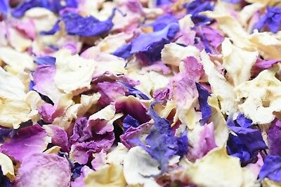Natural Dried Petal Biodegradable Wedding Confetti 1L Raspberry Purple Ivory