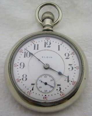 Antique 18S Elgin Bw Raymond 19 Jewel 19J Silverode Pocket Watch