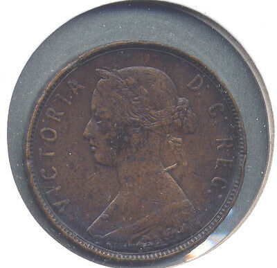 "1880 Newfoundland Cent, Oval or Narrow ""0"" Key Variety - F to VF Detail"