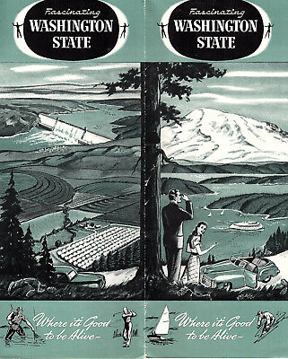 State of Washington Vintage 1940's Brochure Things to See & Do B&W Photos Map