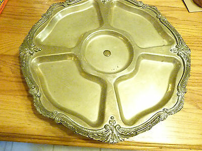 Vintage large ornate silver plated footed Lazy Susan platter tray