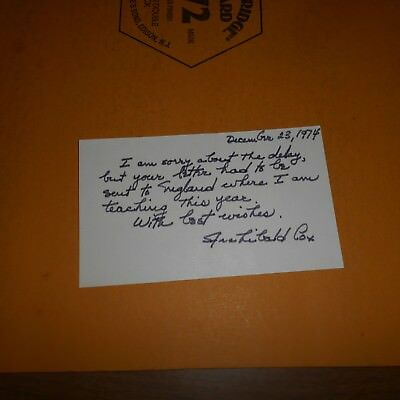 "Archibald ""Archie"" Cox Jr. Hand Signed 1974 Written Mailed Post Card"