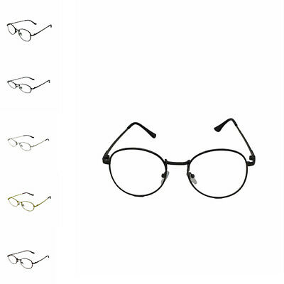 Round Retro Geek Nerd Oval Clear Lens Metal Frame UV400 Glasses