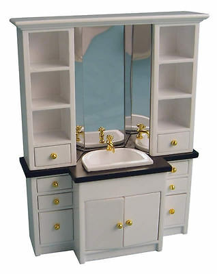 White Bathroom Sink / Vanity Unit, Doll House Miniature, 1.12th Scale