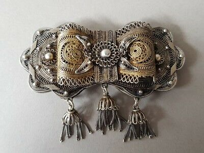 STUNNING ANTIQUE jewelry Ottoman belt buckle SILVER filigree + gilding XIXc